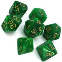 Set di Dadi Vortex (Verde, Oro)